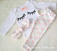 Wholesale Eyelash Bow - NWT 2016 New cute Baby Girls Boys Outfits Set Summer Spring Sets Cotton Long Sleeve Tops Shirts + Harem Pants + bow headband - Eyelash