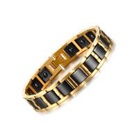 Wholesale Health Balance Bracelet - Men's Stainless Steel 12MM Ceramic Gold Black Magnet Bracelet Health Care Balance Bracelets & Bangles Stainless Steel WristBand B868S