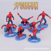 Wholesale Cake Set Toys - 2016 high quality 7styles Spider-Man kids mold toy ormanent superhero spiderman model set Marvel's The Avengers cake doceration doll toy 91y