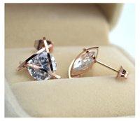 Wholesale Ear Studs Titanium - IB3817 New three-dimensional crystal earrings rose gold ring female fashion simple titanium steel jewelry Ear pins
