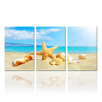 Wholesale Paintings Beach Sunsets - Modern Starfish and Seashalls on Beach Canvas Print Wall Painting Art Summer Sunset Picture Office Decor Canvas Set of 3 Unframed