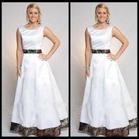 Wholesale Online Wedding Dress Bridal Gown - White Camo Wedding Dresses A Line Floor Length Ribbon Formal Bridal Gowns Custom Made Cheap Simple Vestidos De Novia 2016 Plus Size Online