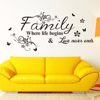 Wholesale home wallpaper words resale online - English Word Family living room sofa wall decals home decoration wallpaper painting Removable Wall Sticker home decor PVC