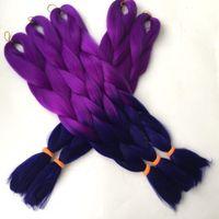 Wholesale blue hair for braiding resale online - Kanekalon jumbo braiding hair quot g purple dark blue ombre braiding hair for small box braids and twist braids synthetic jumbo braids