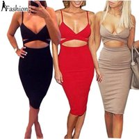 Wholesale Midi Elegant Dress - 2016 Women Sexy Midi Pencil Bandage Bodycon Elegant Dress Long Sleeve Elastic Cotton Elegant Party Club Dresses QZ918