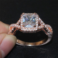 Wholesale Diamond Ring 5ct - 2016 NEW Fashion Jewelry 925 Sterling Silver Rose Gold 5ct Square Diamond CZ Gemstone Rings Wedding Ring for Women size 5-10