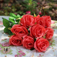 Wholesale Silk Rose Flower Bunches Wholesale - Artificial Flowers 15 Head Small Rose Bunch Bush Artificial Flowers Bouquet Fake Silk Craft Preserved Rose Dozen Roses Silk Roses