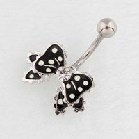 Wholesale Belly Bar Bow - Belly button ring Bow fashion body piercing jewelry Retail navel ring 316L surgical steel bar Nickel-free