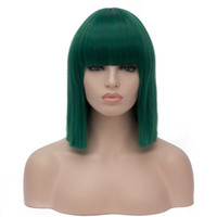 Wholesale Wig Fringes - Women Short Bob Synthetic Wigs High Temperature Fiber Hair with Fringe bangs and Rose Net Dark Green Blue Purple