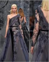 Wholesale Gray One Slit Skirt - one shoulder heavily embellished bodice glamorous romantic purple gray a line wedding dresses 2018 ziad nakad culture open back medium train