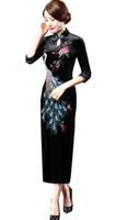 qipao largo al por mayor-Shanghai historia china tradicional vestido de terciopelo bordado de la vendimia del qipao vestido chino cheongsam largo de terciopelo cheongsam qipao púrpura