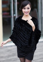 Wholesale Knitted Rabbit Poncho - Autumn Winter Ladies' Genuine 100% Real Knitted Rabbit Fur Poncho Women Fur Pashmina Wrap Female Party Pullover