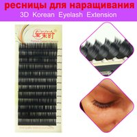 Wholesale Silk Eyelashes Extensions - 4 Trays Lot Eyelash Extensions 3D Individual Lashes Korea Silk Mink Lashes False Eyelashes For Women