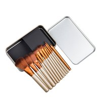 Wholesale Elegant Brush Set - Hot Sale Makeup Brushes Portable Full Cosmetic Brush Tools Elegant Stylish Make Up Brush Set Accessories Kits With Iron Case 12Ppcs set LOGO