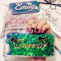 Wholesale Exclusive Cases - Tailand Exclusive Costomize Name liquid glitter soft case for iphone 5 5s SE 6 6s plus Samsung Galaxy s6 s7 edge note 5