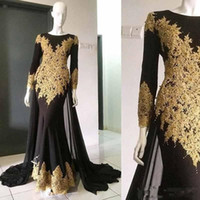 Wholesale Cheap Chic Long Evening Dresses - Chic Black Mermaid Evening Gown With Gold Appliques Bateau Neck Zipper Back Cheap Long Sleeves Prom Dress Formal Dresses Evening Wear