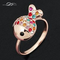 Lovely Clownfish Imotation Crystal Paved Party Ring Wholesale 18K Gold Plated Jewelry Rhinestone для женщин Подарок anel aneis joias DFR017