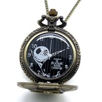 Wholesale-Fashion Men Vintage The Nightmare Before Christmas Thème Quartz Pocket Watch Antique Cool Pocket Watch Avec Chain Necklace