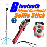 Wholesale Iphone Control Build - Bluetooth control selfie stick with tripod Handheld Extendable Monopod -Built in Bluetooth Shutter Non-slip for iphone 6s plus samsung HTC