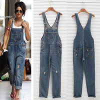 Wholesale Denim Overalls Woman - 2017 new high waist rompers jeans overalls denim jumpsuits pants woman fashion lady female big size trousers jeans