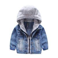 chaqueta de mezclilla para niños al por mayor-2018 New Kids Jacket lavado de mezclilla con capucha de punto Falso 2 unids Fall Winter boys outwear niños de moda calidad de la ropa