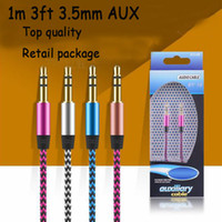 Wholesale Aux Audio Cable Gold - Aux braid Auxiliary audiop cable 3.5mm male to male stereo audio cord wire 1m 3FT cable for samsung LG HTC cell phone