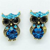Wholesale Stainless Steel Earring Owl - Blue Owl Crystal Earrings vintage rhinestone cool owls earring studs