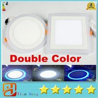 Wholesale Led Recessed Ceiling Light Color - High Power 5W 9W 16W 24W Led Cabinet Lamps Two Color Round Square Led Recessed Ceiling Light Blue+Warm Cool White AC 85-265V