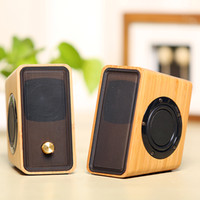 Wholesale Wooden Pc Speakers - Natural Bamboo Hi-fi Multimedia Bass Stereo computer Speaker Full Bamboo Subwoofer 2.0 Desktop Wooden wood Speaker for PC Laptop Cell phones