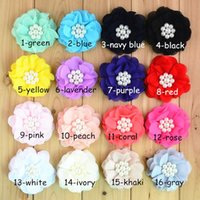 Cotton spot dress shoes - baby headband XAYA cotton headbands new CM hand sewn Chiffon DIY dress shoe color baby headband flower spot hair bows sell