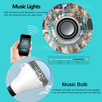 Wholesale Smart Home Audio Wholesale - Smart Bluetooth Music Lamp with RGB LED Infrared Bluetooth and stereo audio combo produc bluetooth bulb new arrive!t