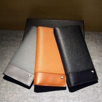 Wholesale Business Suit Designer - 2016 Men's Genuine Leather Long Wallets Famous Designer Brand Luxury Mens Bi-Fold Clutch Thin Purses Men Credit Card Holder Suit Wallet