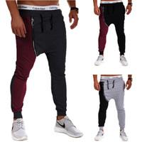 cremallera pantalones de harén hombres al por mayor-Justin Bieber Hip Hop Harem Pants hombres holgados entrepierna entrepierna Sport Pantalones con cremallera Jogging Track Pants Casual Mens Joggers Sweatpants