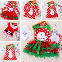 Wholesale dots clothing for kids resale online - Girls christmas dress babies clothes kids holiday clothes children dresses for girl Santa Claus snowman printed child infant lace tutu skirt