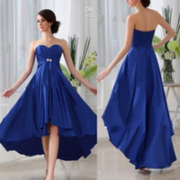 Wholesale Cheap Elastic Skirts - Royal Blue Sweetheart High-low Skirt Elastic Satin Cheap Bridesmaid Dresses 2016 Fashion Simple Prom Gowns Formal Evening Dresses