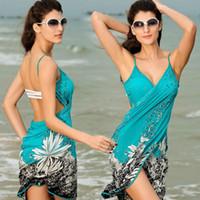 Wholesale Bikini Sarong Wrap - New Women Beach Dress Sexy Sling Beach Wear Dress Sarong Bikini Cover-ups Wrap Pareo Skirts Towel Open-Back Swimwear 2506024