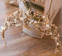 Wholesale Cheap Flowers For Headbands - Vintage Gold Baroque Crowns For Party 2017 Pearls Wedding Crown Tiaras With Plant Pattern Cheap Bridal Headpiece Flowers Crown Headband