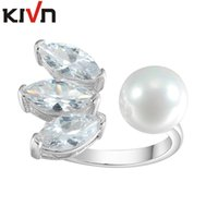 Wholesale Pearl Ring Adjustable - KIVN Fashion Jewelry dazzling Open Adjustable CZ Cubic Zirconia Simulated Pearl Rings for Women Birthday Christmas Gifts