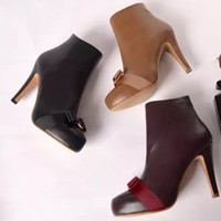 Wholesale s020 big size genuine leather lady boots with cm high heel and cm platform bowtie women boots fashion boots