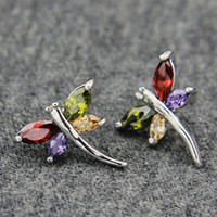 Wholesale White Gold Dragonfly Jewelry - Cute Animal Jewelry 18K White Gold Plated Multicolor Purple Cubic Zirconia CZ Dragonfly Stud Earrings for Women