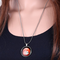 blood the jewelry - Halloween Jewelry Accessory Pendant Luminous Blood Fingerprint Pendants Necklaces Glow in the Dark Chain quot Silver Tone Bead Chain N7
