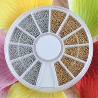 Wholesale Golden Caviar Nail Art - EQ8857 Silvery Golden Nail Art Caviar Beads Manicure Pedicure Make Up Decoration Wheel Nail Tool