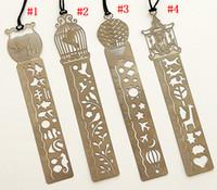 Wholesale Cute Metal Bookmark - Metal Bookmark Ruler JoyTong Creative 4 Styles Hollow Mini Cute Fish Flower Bookmarks Template Best Gifts Fot Girls E878E