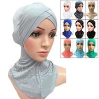 Wholesale Hijab Inner - Wholesale-Muslim Cotton Full Cover Inner Hijab Caps Islamic Hats Islamic Underscarf Colors