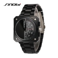 Wholesale Sinobi Male Watch - SINOBI Mens casual Watches Two Turntables Male Square Business Quartz watch Gents Tungsten Military Wristwatch male clock hours