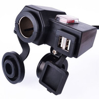 Wholesale Motorcycle Charge - Universal Motorcycle MOTO 12V USB Cigarette Lighter Power on off Port Integration Outlet Socket 12v Dual usb power charge socket Waterproof