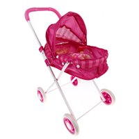 Wholesale Doll Prams - 1Pcs Pink Cute Iron Stroller Pushchair Pram Foldable Girls Doll Pram Toy K5BO