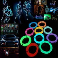 Wholesale Wholesale Rope Lights For Cars - 5m Flexible Neon Light EL Wire Christmas Lighting Neon Rope Strobe Glow Strip Light Flashing for Car Bicycle Party + Battery Case Controller