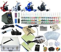 Wholesale Pedal Tattoo Machine - Complete Tattoo Kit 4 Machine Set Coil Gun Equipment Power Supply Foot Pedal Grip Tip Needle Practice Skin 40 Color Inks TKA-7-4