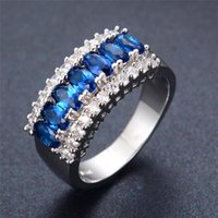 Wholesale Sapphire Rings China - 12Pcs Lot Wholesale Women Trendy Jewelry Romantic Wedding Bridal Blue Sapphire Ring Crystal Zircon Silver Plated Rings